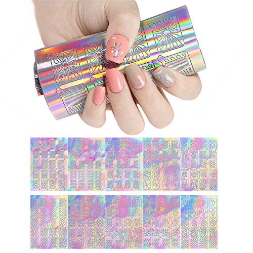 Art-deco-vinyl (coulorbuttons 18Blatt Geometrie Streifen UR Zucker Holo Nail Vinyls Laser Aufkleber Nail Art Schablone Aufkleber)
