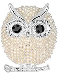 CAOLATOR Eule Brooch Damen Brosche Perlen Broschen Kristall Frauen Nadel  Anstecker Anstecknadeln Schmuck für Kleidung Schals… d2f116a5d4
