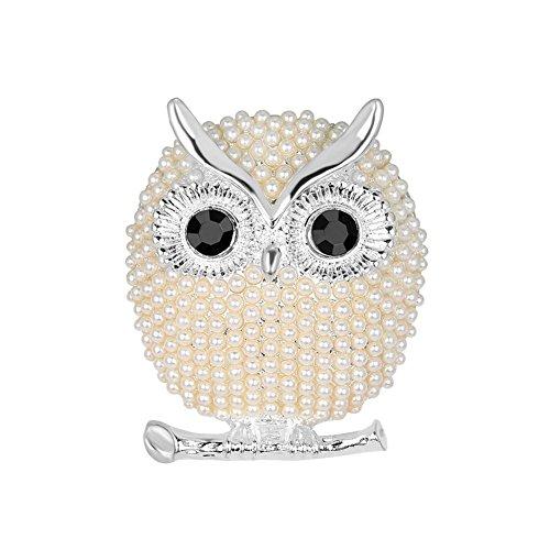 CAOLATOR Eule Brooch Damen Brosche Perlen Broschen Kristall Frauen Nadel Anstecker Anstecknadeln Schmuck für Kleidung/Schals/Tücher/Ponchos/Hochzeit (Silber)