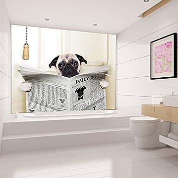 Lustiges Tier Wandbild Mops Foto-Tapete Badezimmer Schlafzimmer ...