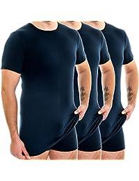 HERMO 3847 - 3 Business Shirts Homme à manche courte plus long, Maillot de corps en 100% coton d'Europe