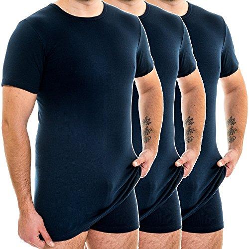 HERMKO 3847 3er Pack Herren extralanges Kurzarm Shirt (+10cm), Farbe:Marine, Größe:D 7 = EU XL