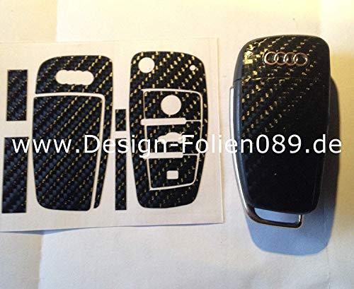 Carbon Folie/Dekor Schwarz Glanz 4D Schlüssel Key Audi RS TT A1 8J A6 A3 8p A4 4F S3 S4 B7 Q7 UVM.