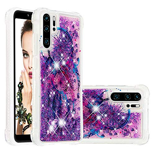 Misstars Glitzer Flüssig Hülle für Huawei P30 Pro, Bling Sparkle Treibsand Handyhülle Transparent mit Muster Bunt Traumfänger Design Weich TPU Silikon Stoßfest Schutzhülle