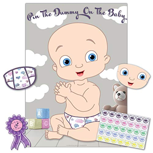Baby Shower Game - Pin The Dummy On The Baby - 35 Player - Blindfold, Winner Prize and XL Poster Included for Fun boy, Girl, Neutral/Unisex Baby Shower Party - Baby Shower Games Modern Classic