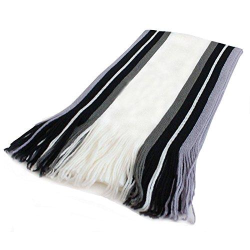 Nikgic Männer Baumwollschal Super weiches Tippet-Kopftuch Gestreiftes Art-Strand-Tuch Winter-warme Schals (Weiß)
