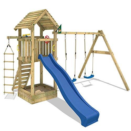 WICKEY Spielturm Captain's Tower+ Kinder-Spielhaus Holz Spielplatz Garten mit Holzdach, Doppelschaukel und blauer Rutsche