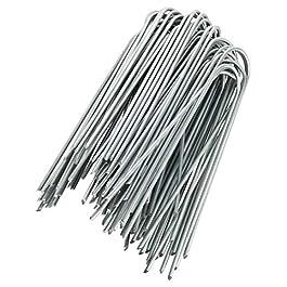 GardenMate 100x Picchetti di ancoraggio lunghi 150mm e larghi 25mm in filo d'acciaio dello spessore di 2,9mm