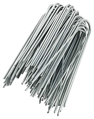 GardenMate 100 Grapas de sujeción GALVANIZADAS 150 mm largo 25 mm ancho de alambre de acero 2,9 mm