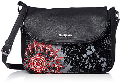 Desigual Damen Handtasche Tasche Schultertasche Red Queen Breda Maxi Schwarz 18WAXFAL-2000