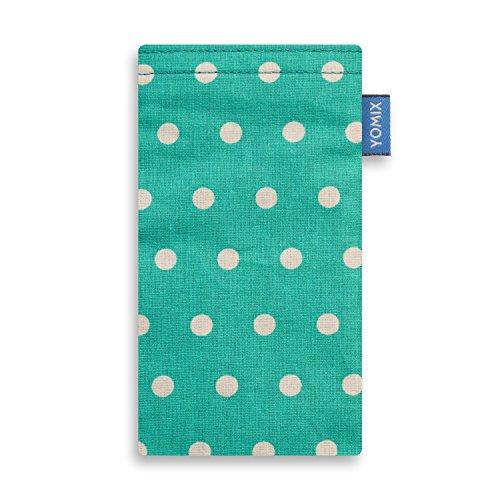 YOMIX Handytasche | Tasche | Hülle Gunilla Mint für Sony Xperia Z3 Compact aus beschichteter Baumwolle mit genialer Display-Reinigungsfunktion durch Microfaserinnenfutter