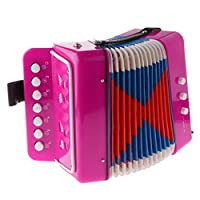 JVSISM 7 Button Key Accordions Educational Toy Children Musical Instrument - Red Rose