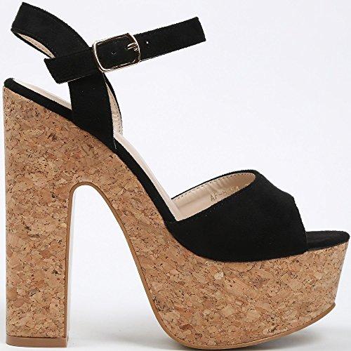 Ideal Shoes–Sandale mit Plattform aus Kork Effekt Wildleder NATEA Schwarz - Schwarz