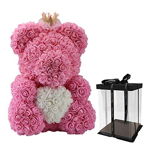 YARDBEAR Künstliche Rosen-Blumen-Bär, Blume Mit Kronen-Geschenkbox-Liebes-Herz-Puppen-Bär, Für Freundin-Jahrestagstag-Geburtstags-Hochzeits-Frauen, Pink,38CM - Puppen Herz Mit