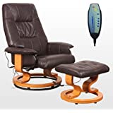 TUSCANY LEATHER SWIVEL RECLINER MASSAGE CHAIR w FOOT STOOL ARMCHAIR 8 MOTOR MASSAGE UNIT BUILT IN (Brown)