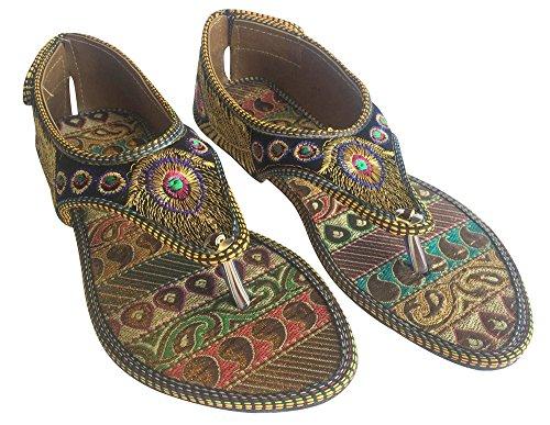 Femmes Ltd Housse Plat Sandales fait main jutti salwar kameez Khussa Chaussures multicouleur - Multicolore