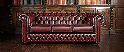Bonnie Chesterfield sofa 3 seats, Made in England. antique brown L 190 P 94 H 69. by klipick