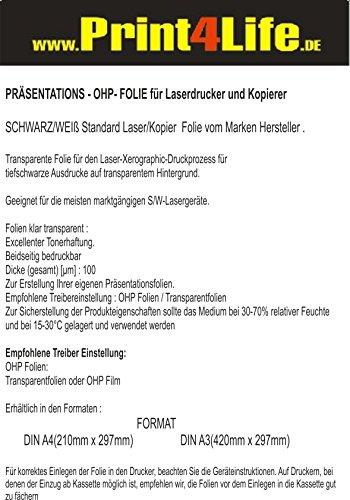 Preisvergleich Produktbild 200 Blatt LASER A4 Standard Universal OHP (Overhead) Transparente Präsentationsfolie. Standardkopierfolie für S/W Laser- und Kopierer mit beidseitig identischer Beschichtung. Die Folie ist 0,100 mm dick.