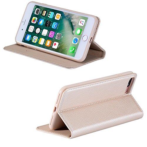 iPhone 7 Hülle, Xundd [Noble Series] Leder Case Schutzhülle Handy Flip Cover Rundumschutz Schale mit Kartenfach Magnetverschluss Aufstellfunktion TPU Innenschale Tasche Etui für iPhone 7 Braun Gold