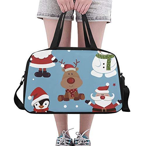 Weiße Schneemann Winter Maskottchen benutzerdefinierte große Yoga Gym Totes Fitness Handtaschen Reise Seesäcke mit Schultergurt Schuhbeutel für Übung Sport Gepäck für Mädchen Frauen Frauen Outdoor