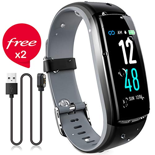 JAZIPO Fitness Armband mit Pulsmesser Blutdruck, Wasserdicht IP68 Fitness Tracker Smartwatch GPS Aktivitätstracker Pulsuhren Blutdruckmesser Vibrationsalarm Anruf SMS für Damen Männer -