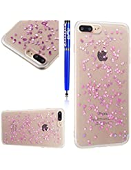 Coque pour iPhone 8 Plus,iPhone 7 Plus Silicone Housse Etui,EUWLY Mince Crystal Clear TPU Silicone Slim Soft Gel Cover Skin Case,Transparent Soft TPU Silicone Étui Housse Coque Pour iPhone 7 Plus / 8 Plus,Slim Transparent Flexible Soft Gel Protective Case TPU Doux Housse Etui de Protection Coque Coquille avec Amour Cristal Clair Caoutchouc Bumper Résistant aux Rayures Anti Choc Protecteur Cas Couverture pour + 1 x Stylo - Violet Clair