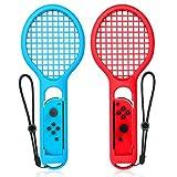 Tennisschläger für Nintendo Schalter, Keten Twin Pack Tennisschläger für Joy-Con Controller für Mario Tennis Aces Spiel, Griff für Schalter Joy-Cons (1x Blau & 1x Rot)