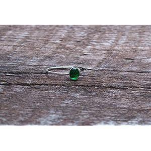 Bottled Up Designs Recycelte Vintage 1960er Jahre grüne Bierflasche Sterling Silber Stapeln Ring