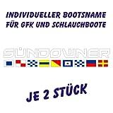 Individueller Bootsname Buchstabenaufkleber in Schriftart Battlefield Zahl 4 Farbe weiß inkl. nautischem Alphabet je 2 Stück pro Bestellung