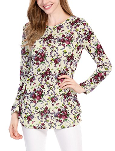 Allegra K Damen Druck Langzarm Rundhals locker Tunika gestrickt Shirt, Beige-Floral/XL (EU 48)