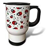 "3dRose tm_113184_1"" Cute red Ladybug Pattern with Green Leaves on White-Cartoon Ladybugs-Ladybirds-Kawaii Bugs- Travel Mug, 14 oz, Multicolor"