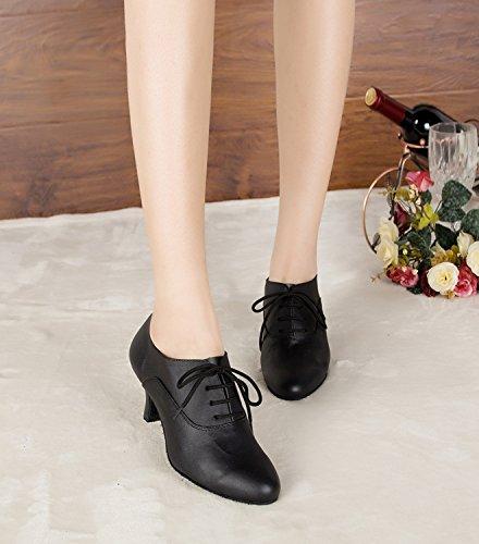 Minitoo–th159Lace-up Moda in Pelle Matrimonio Ballo Latina taogo Dance pompe scarpe Nero (nero)