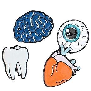 1 Set Drops of Menschlicher Körper Broschen Gehirn Augen Zähne Brosche Bekleidung Accessoires