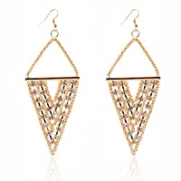Lureme® Elegant Retro Style Alloy Kc Gold Tone Three Layer Inverted Triangle Shape with Crystal Strass Dangle Earring(02004442-1)
