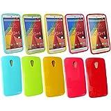 "Emartbuy® Motorola Moto G ( 2014 ) 5 "" Zoll 2nd Generation / Moto G2 Dual Sim / Moto G2 Shiny Gloss Gel Hülle Schutzhülle Case Cover Packung 5 - Hot Rosa, Rot, Blau, Gelb, Grün"