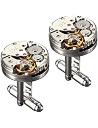 Yellow Chimes Steampunk Retro Vintage Watch Movement Shape Cufflinks for Men and Boys