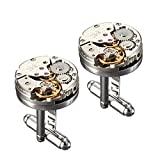 Yellow Chimes Vintage Watch Stainless Steel Cufflinks for Men (Metallic) (YCFJCL-E071WTCH-SL)
