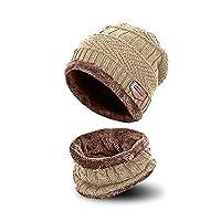 AYAMAYA Winter Beanie Scarf for Boys Girls - (5-14 Years) Kids Warm Knit Hat(2-Pieces) Thermal Ski Hat Including Neck Warmer Slouchy Skull Cap, Khaki