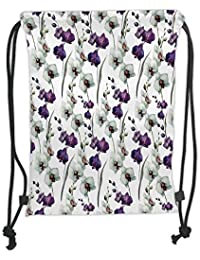 GONIESA Drawstring Sack Backpacks Bags,Watercolor Flower,Wild Orchid Family Flowerpot Plants with Blooms