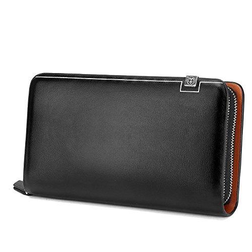Herren Geldbörsen Clutch Bags Lange Taschen Business-Taschen Handy-Taschen Aus Echtem Leder Taschen,Black-OneSize -
