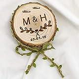 Worlddream 1 Pieza de Soporte de Anillo de Madera Natural Personalizado para Boda, Compromiso, Fiesta, decoración de Fotos, Anillo de Apoyo, 1 Pieza