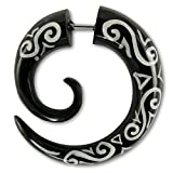 Fly Style® 1 Stück - verschiedene Modelle Fake Plug Spirale Piercings aus Holz, Horn oder Knochen, Modell:Horn-Spirale Celtic Tribal