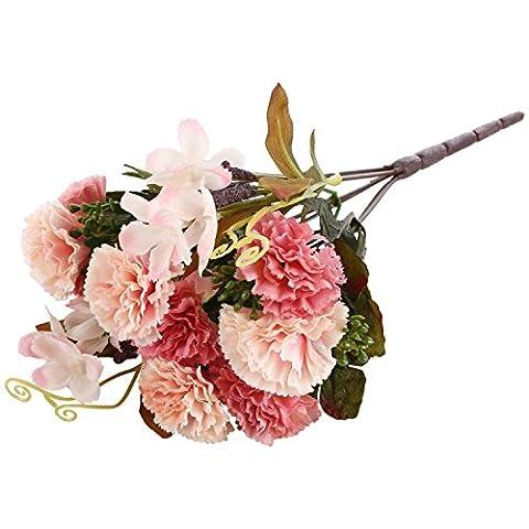 Soledi Artificial Silk Fake 8 Heads Flower Bunch Bouquet for Home Hotel Wedding Party Garden Floral Decor European Carnations (Pink)