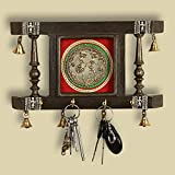 ExclusiveLane 'Brass People On Teak Wood' Warli Hand-Painted Key Holder With Dhokra Art (4 Hooks) - Key Holders For Wall Décor Key Hanger Home Décor Accessories Wall Hanging Key Holders for Wall Decor