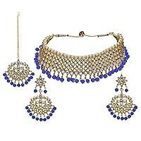 I Jewels Traditional Kundan & Blue Pearl Choker Necklace Set For Women (K7075Bl)