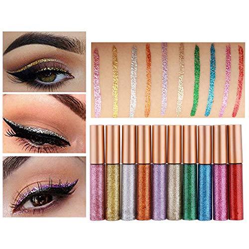 Weixinbuy 10 colores brillo líquido delineador ojos