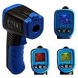 HoldPeak HP-981D Infrarot-Thermometer -30 bis +550°C Pyrometer mit Messwertspeicher und Mehrfarbigem Wärmebrückenfinder, Laser, Blau/Grau