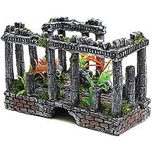 Wicemoon - Adorno Para Acuario, Diseño de Columna Romana Con Plantas Verdes