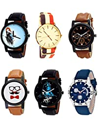 NIKOLA Brand New Branded Mahadev Beard Style Black Blue And Brown Color 6 Watch Combo (B22-B50-B30-B53-B23-B56...