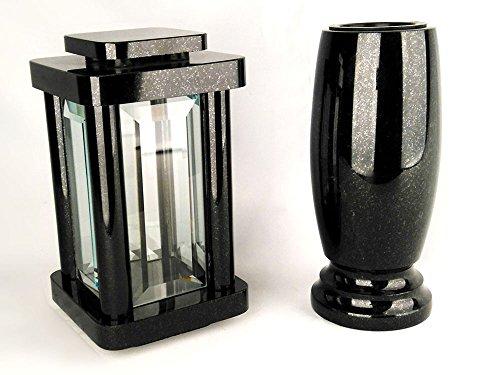 designgrab Modern Grablampe mit Vase aus Granit Schwedisch Black SS1 schwarz, Grabschmuckset